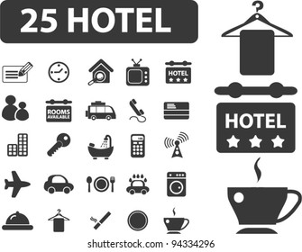 25 hotel icons set, vector