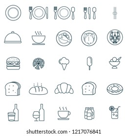 25 icon set of food and drink for restaurant. big set of fast food icons vector design with simple outline and modern style, editable stroke