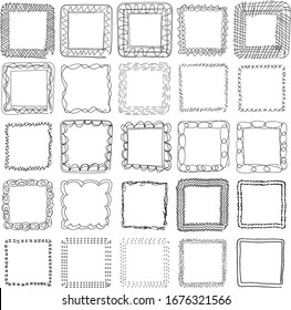 25 Individual Hand Drawn Doodle Square Isolated Vector. Squate Doodle Vector.