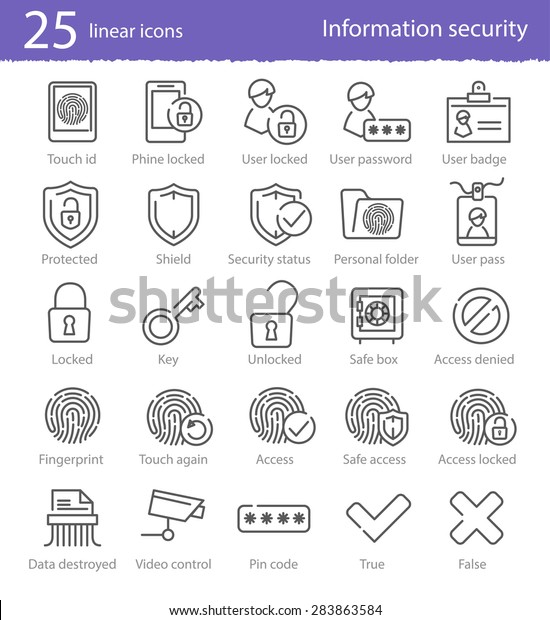 25 information security vector linear icons set for web design and applications
