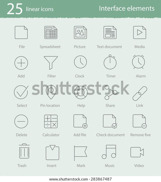 25 interface elements vector linear icons set for web design and applications