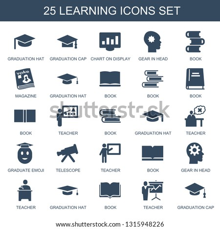 0537ae18361 Trendy learning icons white background. Included filled icons such as graduation  hat