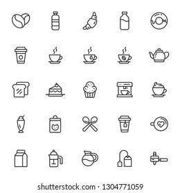 25 line art coffee shop icons set on white background.