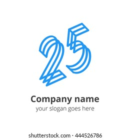 25 logo concept. Number twenty five, 2 and 5 blue logo icon.