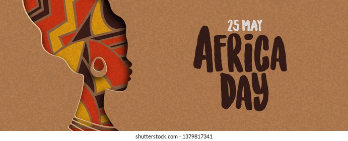 25 May Africa Day banner illustration with traditional african woman head silhouette in paper cut style.