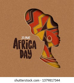 25 May Africa Day greeting card illustration with traditional african woman head silhouette in paper cut style.