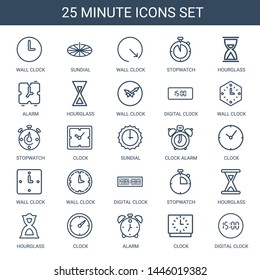 25 minute icons. Trendy minute icons white background. Included outline icons such as wall clock, sundial, stopwatch, hourglass, alarm, digital clock. minute icon for web and mobile.