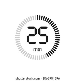 The 25 minutes, stopwatch vector icon, digital timer. clock and watch, timer, countdown symbol.