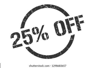 25% off black round stamp