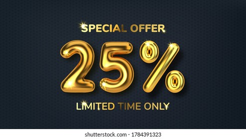 25 off discount promotion sale made of realistic 3d gold balloons. Number in the form of golden balloons. Template for products, advertizing, web banners, leaflets, certificates. Vector illustration