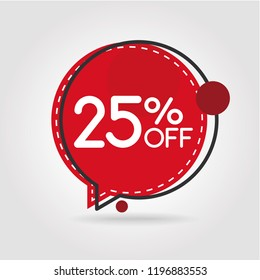 25% OFF Discount Sticker. Sale Red Tag Isolated Vector Illustration. Discount Offer Price Label, Vector Price Discount Symbol.