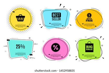 25% off Sale. Best seller, quote text. Discount offer price sign. Special offer symbol. Quotation bubble. Banner badge, texting quote boxes. Discount text. Coupon offer. Vector