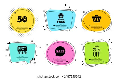 Up to 25% off Sale. Best seller, quote text. Discount offer price sign. Special offer symbol. Save 25 percentages. Quotation bubble. Banner badge, texting quote boxes. Discount tag text. Vector