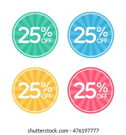 25% off. Sale and discount price badge sticker. Concept Shopping.