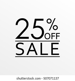25% off. Sale and discount price banner. Sales tag design template. Vector illustration.