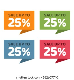 25% off. Sale and discount price badge banner.