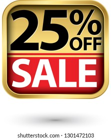 25% off sale golden label with red ribbon,vector illustration