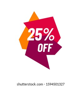 25% off Sale 25 percent Discount Marketing Promotional Poster Banner Design Vector Illustration