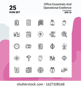 25 Office Essentials and Operational Exellence Icon Set. 100% Editable EPS 10 Files. Business Logo Concept Ideas Line icon design