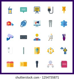 25 office icon. Vector illustration office set. presentation and ruller icons for office works