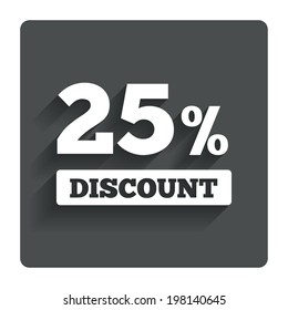 25 percent discount sign icon. Sale symbol. Special offer label. Gray flat button with shadow. Modern UI website navigation. Vector