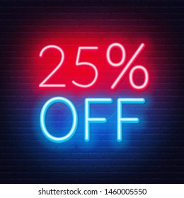 25 percent off neon lettering on brick wall background. Vector illustration
