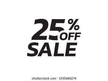 25 percent price off icon, label or tag for sale. Discount badge or sticker design. Vector illustration.