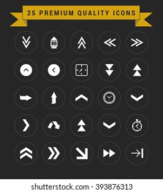 25 Premium Quality icon set. vintage yellow banner on top