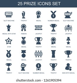 25 prize icons. Trendy prize icons white background. Included filled icons such as Slot machine, trophy, medal, number medal, medal with star, ribbon. prize icon for web and mobile.