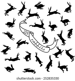 25 rabbits silhouette