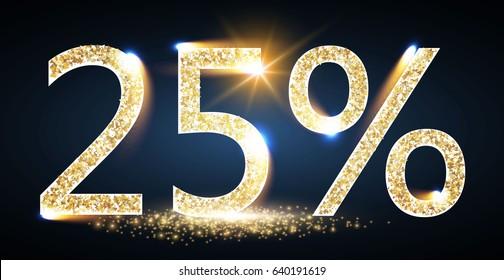 25% Sale. Twenty Five Percent Off. Sale Design Element with Shining Lights and Gold Texture. Elegant Luxury Banner. Vector illustration