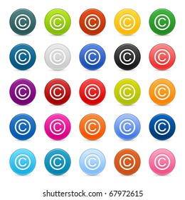 25 satined web 2.0 button with copyright sign. Colored round shapes with shadow on white