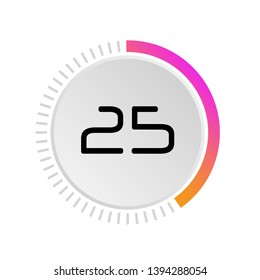 The 25 seconds, minutes, stopwatch vector icon, digital timer. Vector digital count down circle board with circle time pie diagram. Watch outline style design, designed for web and app.