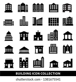 25 set of public Building icon,  goverment and office symbol, hotel, apartment, house icon vector