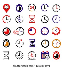 25 Set of time icon. clock collection. illustration of times vector. modern and trendy design