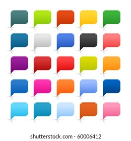 25 simple web 2.0 dialog speech bubble. Rounded square shapes with reflection and shadow on white background