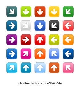25 smooth satined web 2.0 button with arrow sign on white background. Colored rounded square shapes with shadow