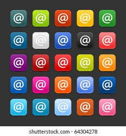 25 smooth satined web 2.0 button with at sign. Colorful rounded square shapes with shadow on gray background
