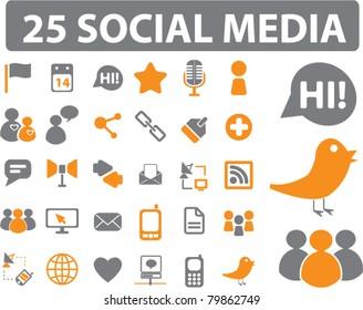 25 social media icons, signs, vector