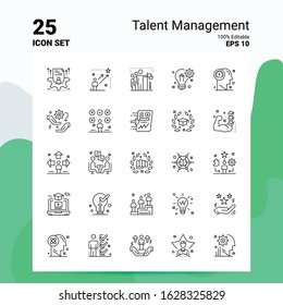 25 Talent Management Icon Set. 100% Editable EPS 10 Files. Business Logo Concept Ideas Line icon design