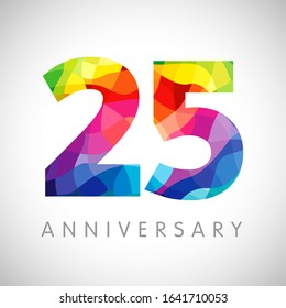 25 th anniversary numbers. 25 years old logotype. Bright congrats. Isolated abstract graphic web design template. Creative 5, 2 3D digits. Up to 25% percent off discount idea. Congratulation concept.