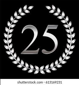 25 th anniversary. Silver laurel wreath on a black background