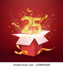 25 th years number anniversary and open gift box with explosions confetti isolated design element. Template twenty five birthday celebration on red background vector Illustration.