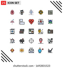 25 Thematic Vector Filled line Flat Colors and Editable Symbols of agriculture; strategy; analysis; arrow; reporting Editable Vector Design Elements