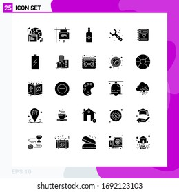 25 Thematic Vector Solid Glyphs and Editable Symbols of heart; notebook; beach; wrench; plumbing Editable Vector Design Elements