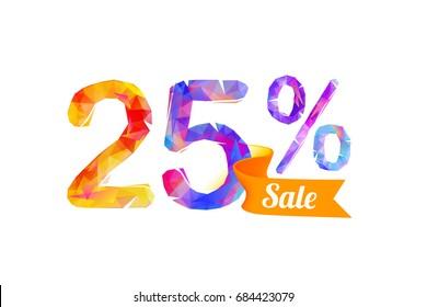 25 (twenty five) percents sale. Vector triangular digits