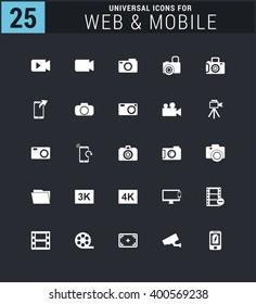 25 Universal icon set. simple pictogram minimal, flat, solid, mono, monochrome, plain, contemporary style. Vector illustration web internet design elements