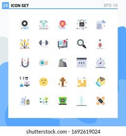25 User Interface Flat Color Pack of modern Signs and Symbols of fridge; network; mother; lock; bag Editable Vector Design Elements