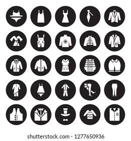 25 vector icon set : Bra & Knicker, Sweater, Top hat, Tuxedo, Vest, suit jacket, Kilt, tracksuit, Kurta, Dressing Gown, Chemise, Camisole isolated on black background.
