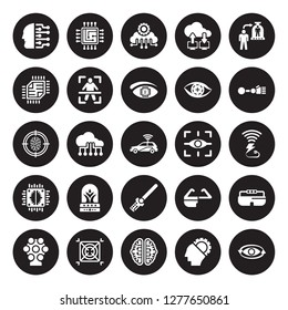 25 vector icon set : Cyborg, AI, ai Brain, AI grid, Ar camera, Bionic arm, Augmented reality, wand, Artificial intelligence, Chip, Cloud Intelligence, Cpu isolated on black background.